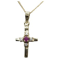 0.15ctw Vintage Natural Ruby Gold Plated Cross Pendant