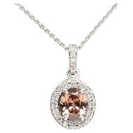 Handcrafted Natural Peach Zircon and Diamond Halo Pendant Necklace