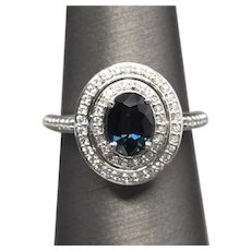 Handcrafted 2.47ctw Natural Blue Sapphire and Double Diamond Halo Ring 14k