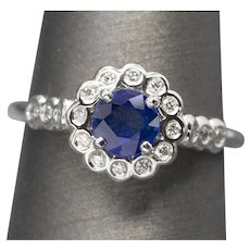 Handcrafted 1.09ctw Natural Ceylon Blue Sapphire and Bezel Set Diamond Ring 14k