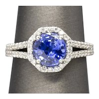 2.62ctw Natural Cornflower Blue Sapphire & Diamond Halo Split Shank Ring 14k