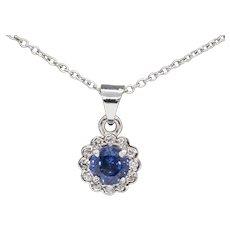 0.67ctw Ceylon Sapphire and Diamond Halo Necklace 18k