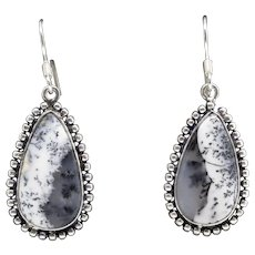 Handcrafted Stunning Dendritic Black and White Agate and Sterling Silver Drop Earrings