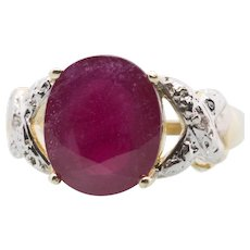 Handcrafted 6.00ctw Vintage Style Natural Ruby and Diamond Accent Statement Ring 14k