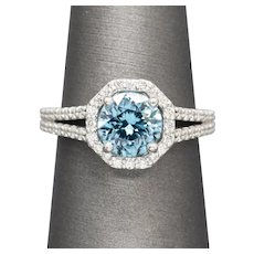 Handcrafted 2.78ctw Caribbean Blue Zircon and Diamond Split Shank Halo Ring