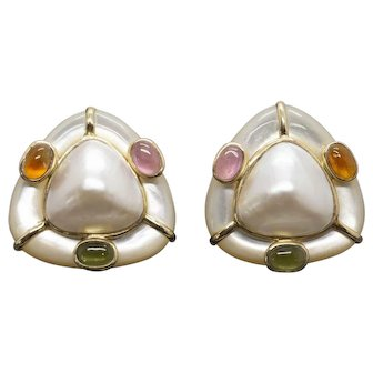 Amazing Vintage Mabe Pearl, Mother of Pearl, Tourmaline, Peridot, Citrine Omega Back Earrings 14k
