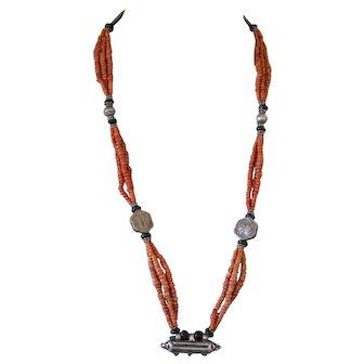 Antique Turkmen Tajik Coral Bead Silver Tavis Wedding Necklace