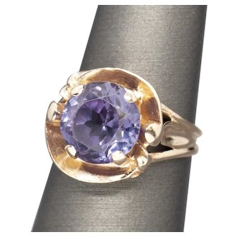 Vintage 9mm Synthetic Alexandrite Cocktail Ring 14k Rose Gold