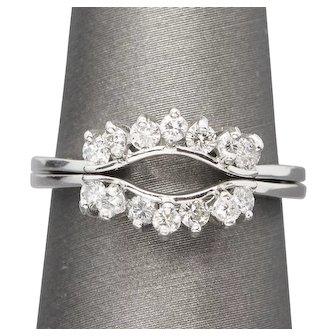 Set of 2 Diamond 14k White Gold Ring Guards, Contour Band, Enhancers Wedding Rings