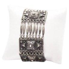 Vintage Mexican Sterling Silver Wide Link Bracelet