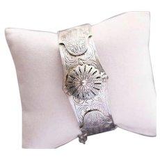 Vintage Moroccan Berber Silver Hamsa Camel Cuff Bracelet