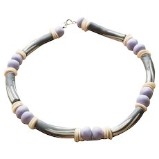 Vintage African Sculpted Clay and Bone Beaded Necklace