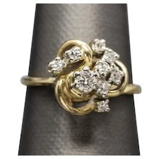 Vintage 0.38ctw Diamond Cluster Cocktail Dinner Ring 14k Size 9