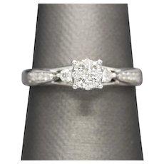 0.40ctw Diamond Cluster Engagement Ring 14k White Gold Size 9