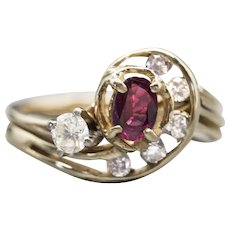 Vintage Natural Ruby and Diamond Cluster Birthstone Anniversary Ring 14k