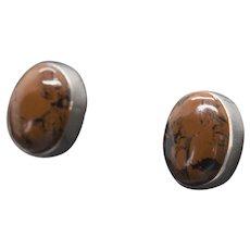 Vintage Mexican Sterling Silver Red Mahogany Obsidian Bezel Set Stud Earrings