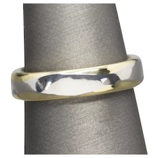 Handcrafted 5.25mm Platinum and Gold Comfort Fit Band Ring Size 10