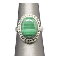 Handcrafted Bezel Set Malachite Boho Style Sterling Silver Ring