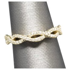 0.35ctw Diamond Twisted Infinity Anniversary Wedding Band Ring 14k Yellow Gold