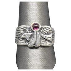 Vintage Garnet Guardian Angel Band Ring Sterling Silver Size 10.5