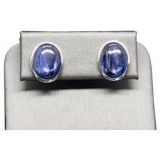 Handcrafted Oval Blue Kyanite Sterling Silver Modernist Earrings