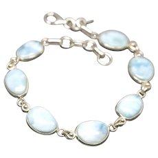 Handcrafted Oval Shaped Natural Larimar Line Bracelet Adjustable Sterling Silver
