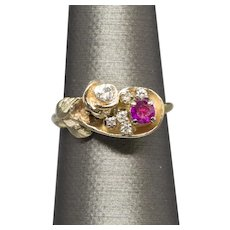 Vintage Sweet Ruby and Diamond Rose Cluster Ring in 14k Yellow Gold