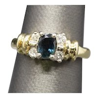 Peacock Sapphire and Diamond Two Tone Ring 14k Size 5.25 Engagement Birthstone