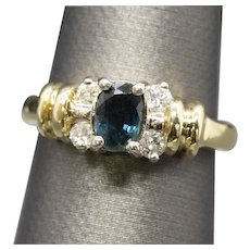 Peacock Sapphire and Diamond Two Tone Ring 14k Size 5.25