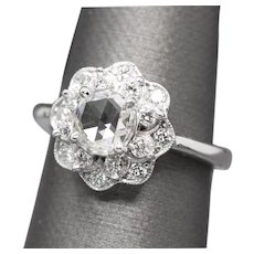 RARE GIA Certified 1.45ctw H VS2 Rose Cut Diamond Floral Design Ring