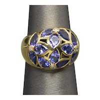 Vintage Le Vian LeVian Tanzanite and Diamond Domed Cocktail Ring 18k Yellow Gold