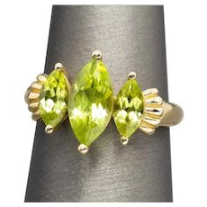 Vintage Three Stone Marquise Cut Peridot Ring 10k Yellow Gold