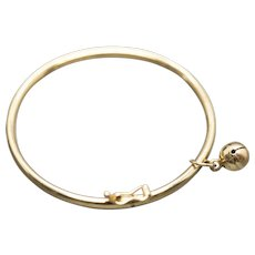 Vintage 18k Yellow Gold Baby Bracelet with Bell