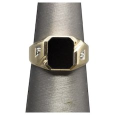 Vintage Black Onyx and Diamond Accent Men's Ring 10k Size 8.76