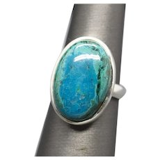 Handcrafted Chrysocolla Sterling Silver Bezel Set Statement Ring Size 8.5