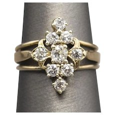 Antique Old Mine Cut and Old European Cut Diamond Cluster Ring