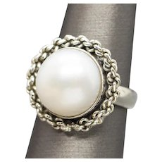 Handcrafted 12mm Mabe Pearl Sterling Silver Ring Size 5