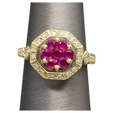 Vintage Art Deco Natural Ruby and Diamond Cocktail Ring 14k