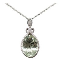 20.50ctw Prasiolite Green Quartz and Diamond Pendant Necklace 14k White Gold