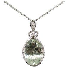 20.50ctw Prasiolite Green Quartz and Diamond Pendant Necklace 14k White Gold