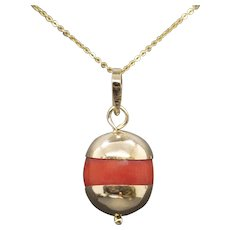 Antique 18k Natural Un-Dyed Red Coral Bead Pendant with Gold Caps