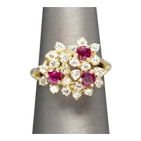 Vintage 1.38ctw Natural Ruby and Diamond Cluster Cocktail Ring 14k Yellow Gold Size 6.75