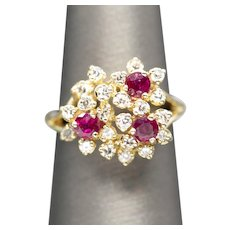 Vintage Natural Ruby and Diamond Cluster Cocktail Ring 14k Yellow Gold Size 6.75