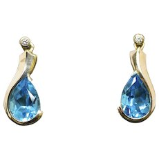 6.75ctw Vivid Blue Topaz and Diamond Dangle Earrings 14k Yellow Gold