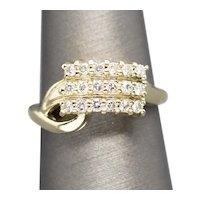 Vintage 0.50ctw Three Row Diamond Anniversary Cocktail Ring 14k