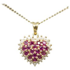 Classic 1.00ctw Ruby and Diamond Domed Heart Pendant Necklace 14k 18""