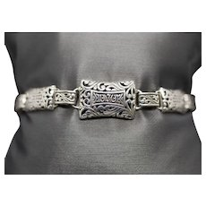 Vintage Thailand Sterling Silver Link Bracelet with Toggle Clasp