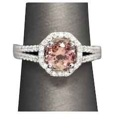2.05ctw Brazilian Natural Imperial Topaz and Diamond Halo Ring 14k