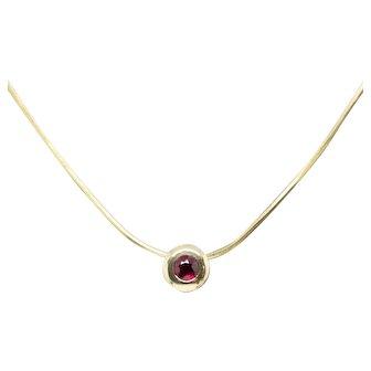 """Vintage Natural Untreated Mogok Ruby Bezel Set Snake Chain Pendant Necklace 14k 20"""""""