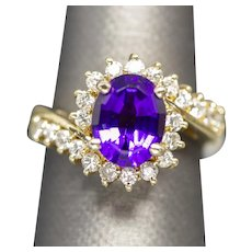 2.16ctw Oval Amethyst and Diamond Bypass Cocktail Birthstone Ring